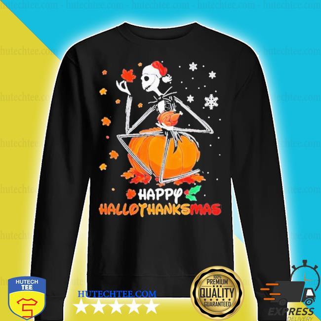Jack skellington with santa hat happy hallothanksmas s sweater