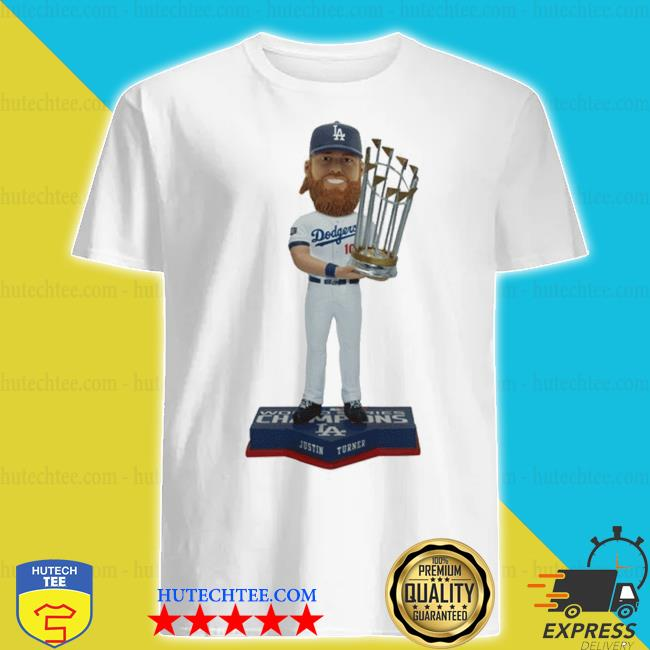 Justin turner member los angeles dodgers 2020 world series champions bobblehead shirt