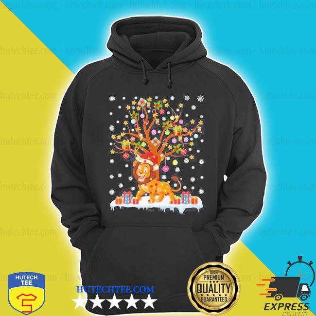 Lion lighting xmas tree lion ugly christmas sweater