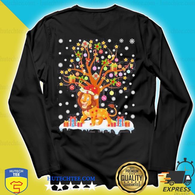 Lion lighting xmas tree lion ugly christmas sweater longsleeve