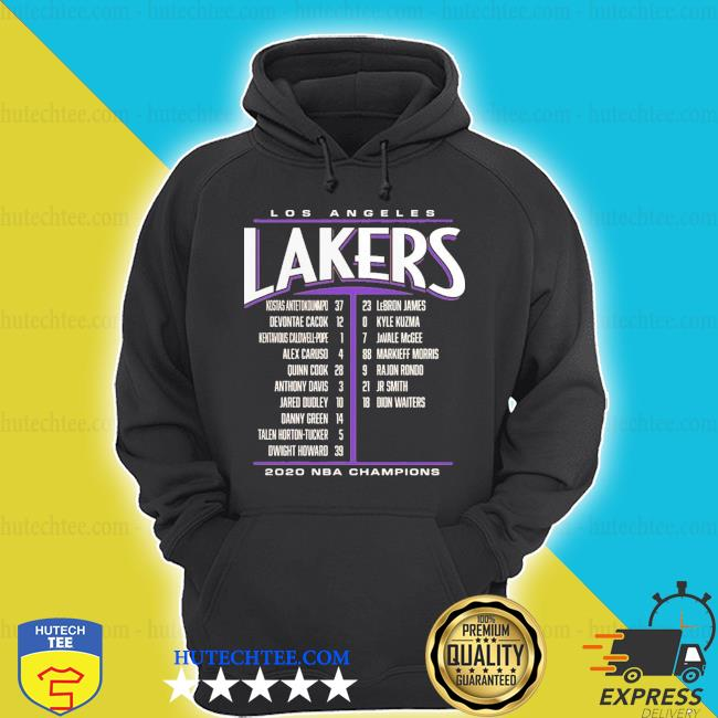 Los angeles lakers 2020 nba champions team name list shirt