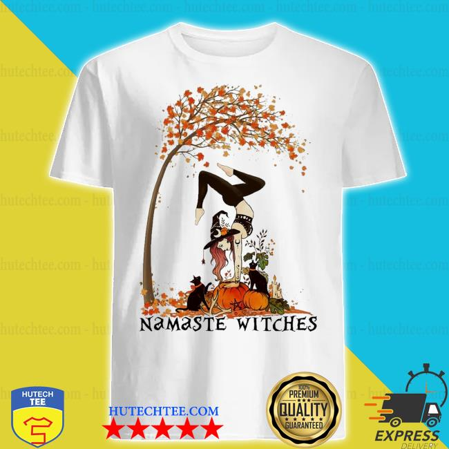 Namaste Witches and Black Cat Halloween Fall shirt