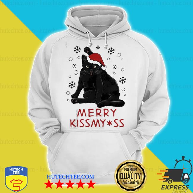 Santa black cat merry christmas kiss my ass ugly sweater hoodie
