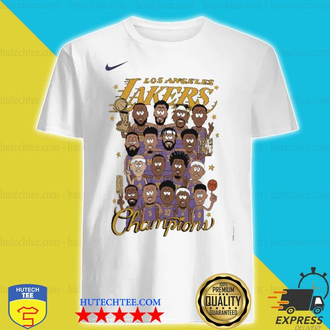 Team los angeles lakers nike 2020 nba finals champions celebration roster chibi shirt