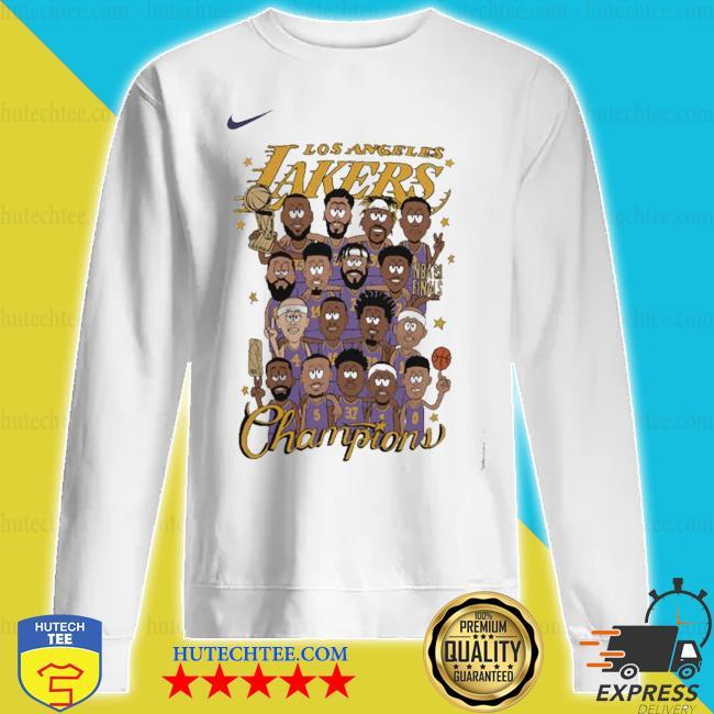 Team los angeles lakers nike 2020 nba finals champions celebration roster chibi s sweatshirt