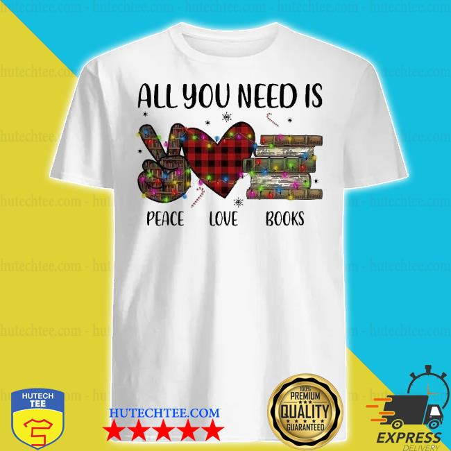 All you need is a peace love books merry Christmas light sweater