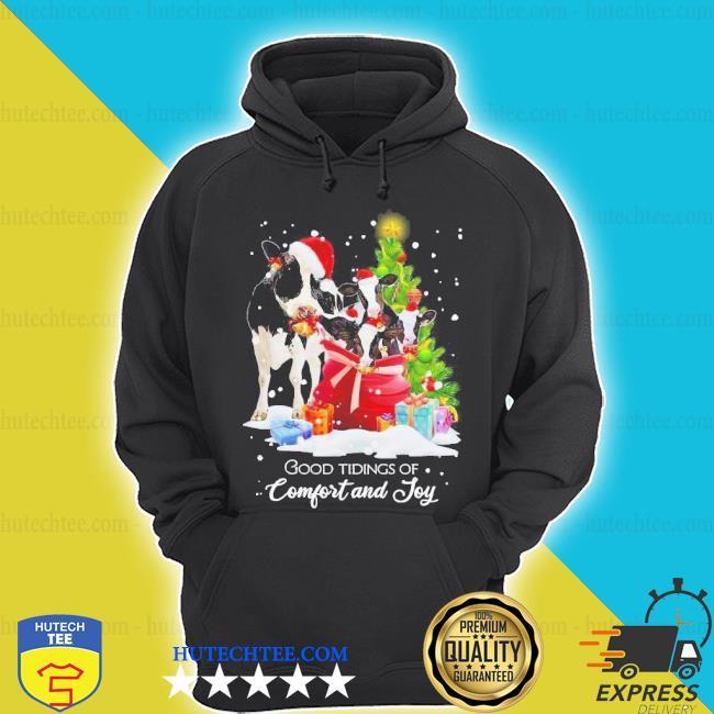 Cows santa good tiding of comfort and joy merry Christmas tree sweater