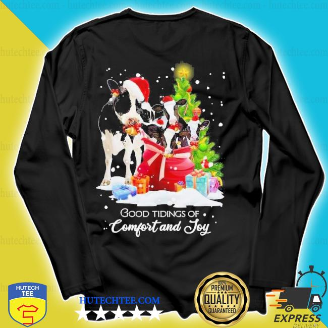 Cows santa good tiding of comfort and joy merry Christmas tree sweater longsleeve