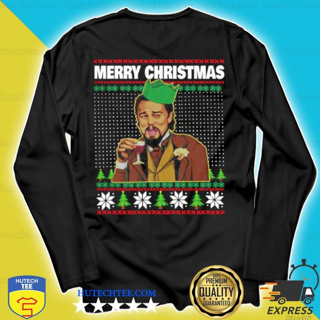 Leo laughing dank meme merry Christmas ugly sweater longsleeve