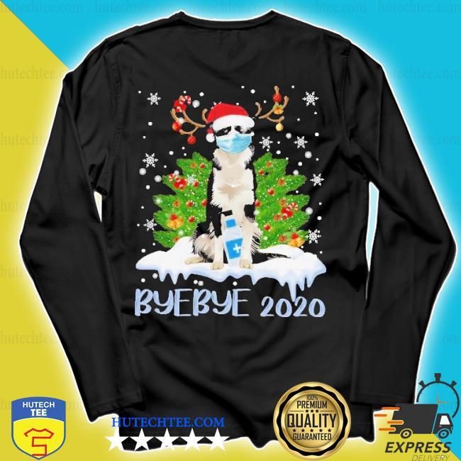 Santa bernese mountain dog face mask bye bye 2020 merry Christmas tree sweater longsleeve