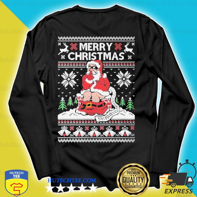 Santa toilet ugly Christmas sweater longsleeve