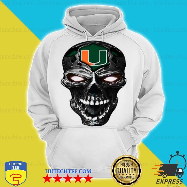 Skull miami hurricanes football s hoodie