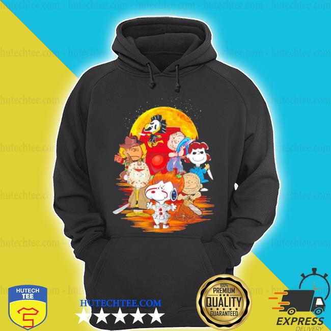 The peanuts snoopy and friends horror face on the moon s hoodie