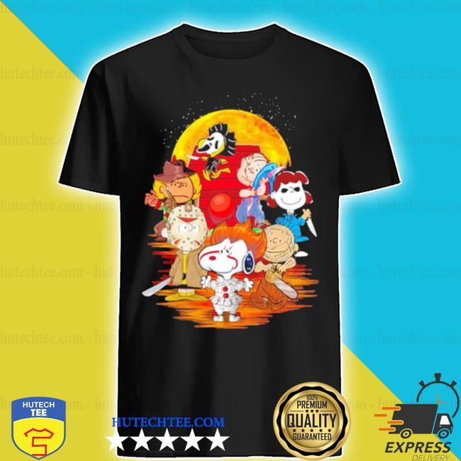 The peanuts snoopy and friends horror face on the moon shirt