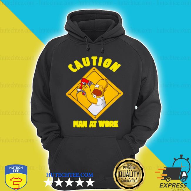 The simpsons caution man at work s hoodie