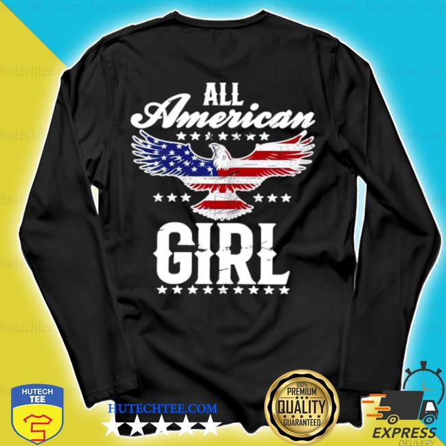 All American girl 4th of july patriotic eagle flag s longsleeve