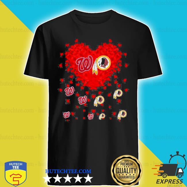 Heart red Washington and Redskins team Football shirt