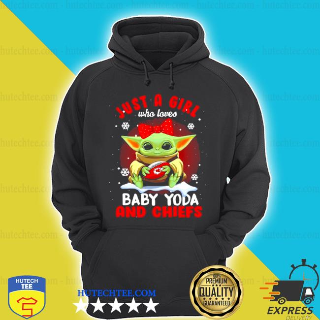 Just a girl who loves baby Yoda wear polka dot red bow and Chiefs ball s hoodie