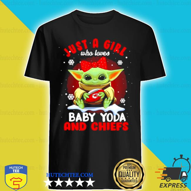 Just a girl who loves baby Yoda wear polka dot red bow and Chiefs ball shirt