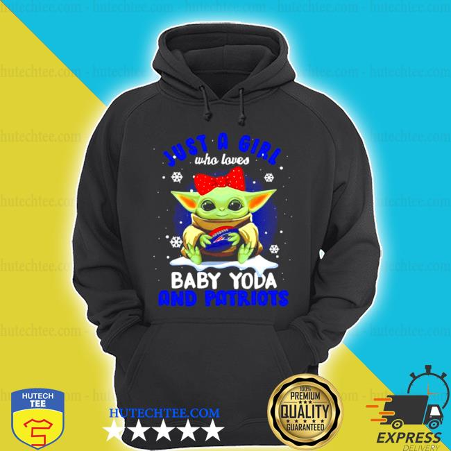 Just a girl who loves baby Yoda wear polka dot red bow and Patriots ball s hoodie