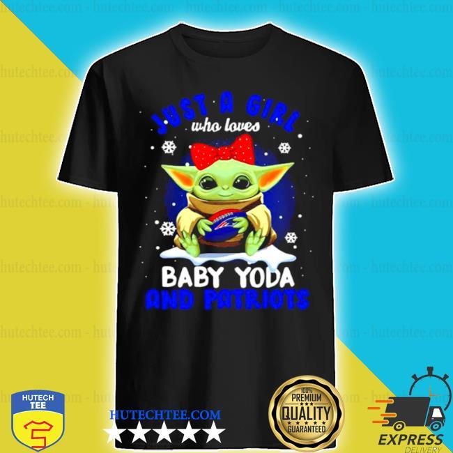 Just a girl who loves baby Yoda wear polka dot red bow and Patriots ball shirt