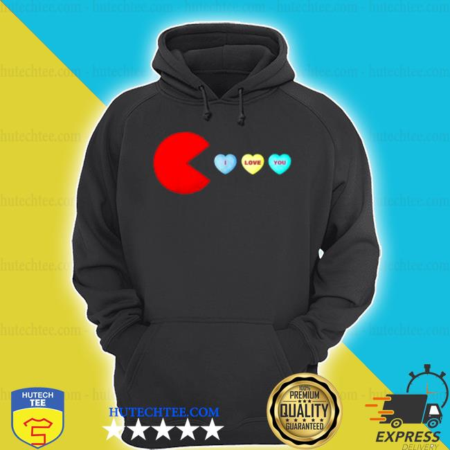 Pacman I love you heart valentines day shirt